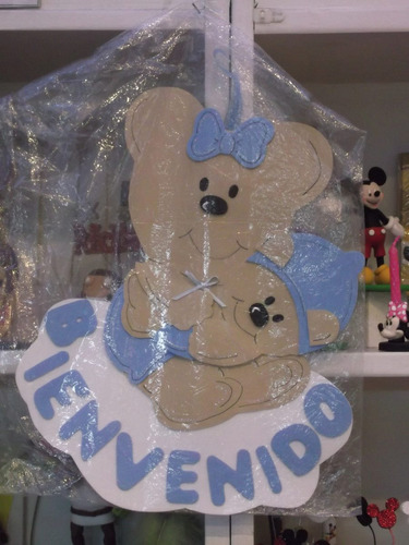 cartel bienvenido/a recién nacido - goma eva 35 x 35 cm