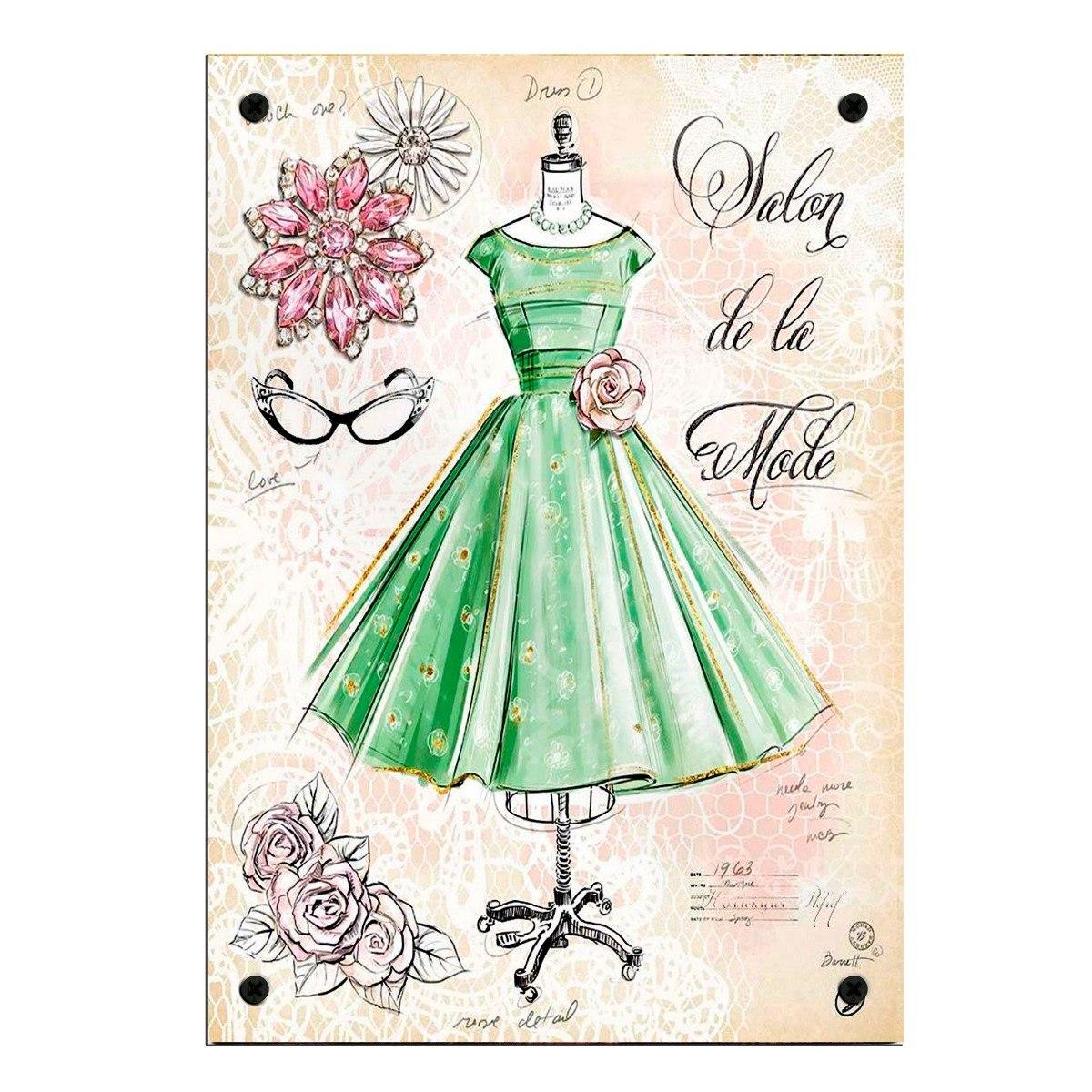 Retro Cartel Decorativa Moda Vestido Vintage Chapa Chic BsQtdrhCxo