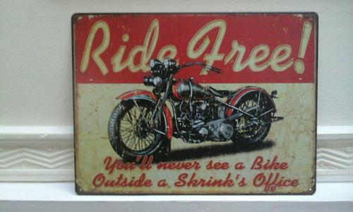 cartel chapa moto harley ride free 40 x 30