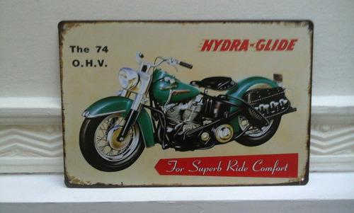 cartel chapa moto hidra glide 30 x 20