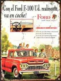 cartel chapa publicidad antigua ford f100 l254