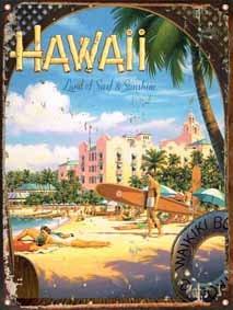 cartel chapa publicidad antigua vintage surf hawaii p135