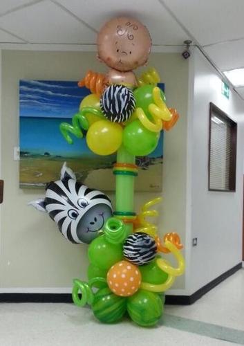 cartel columna clinica nacimineto globo puerta baby shower