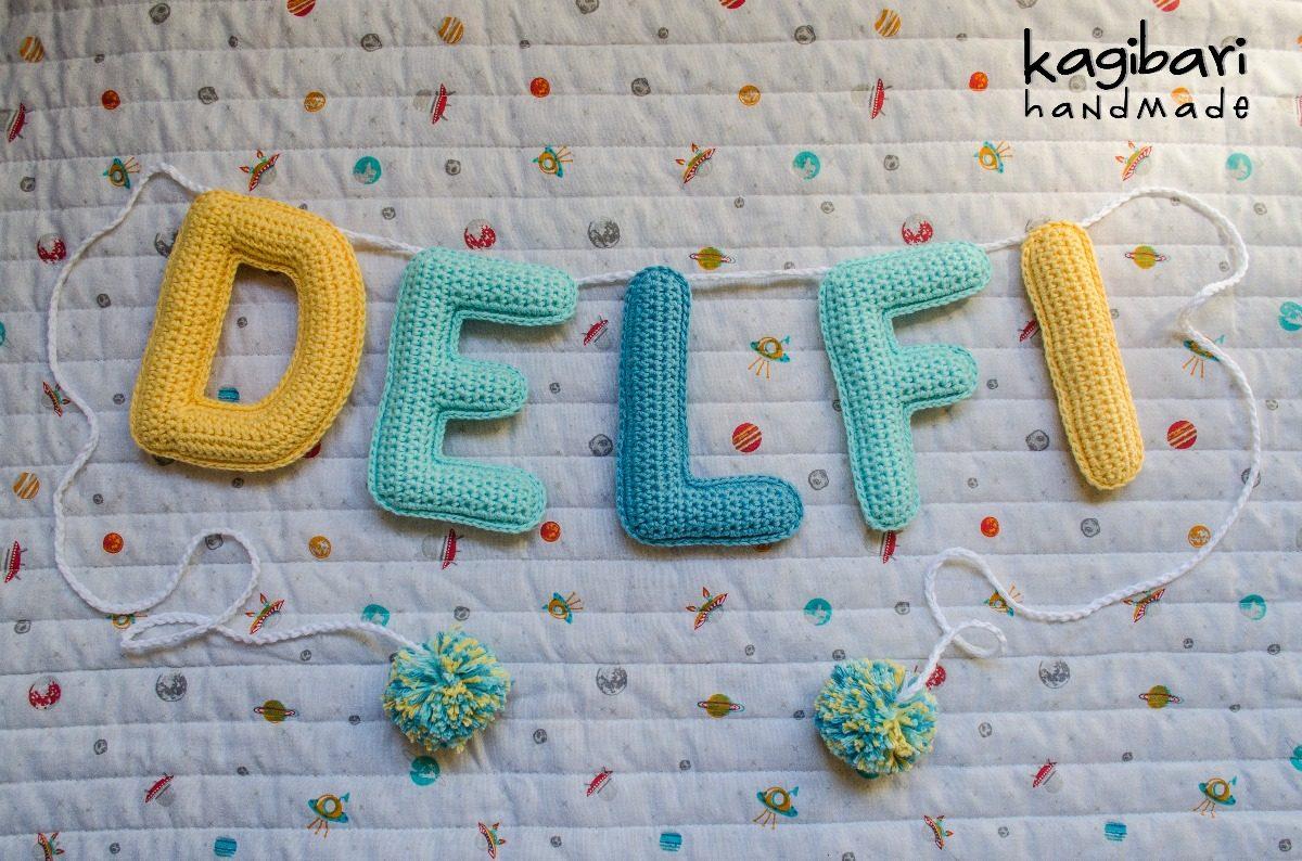 Cartel Con Nombre Tejida Al Crochet Guirnalda (5 Letras) - $ 748,00 ...