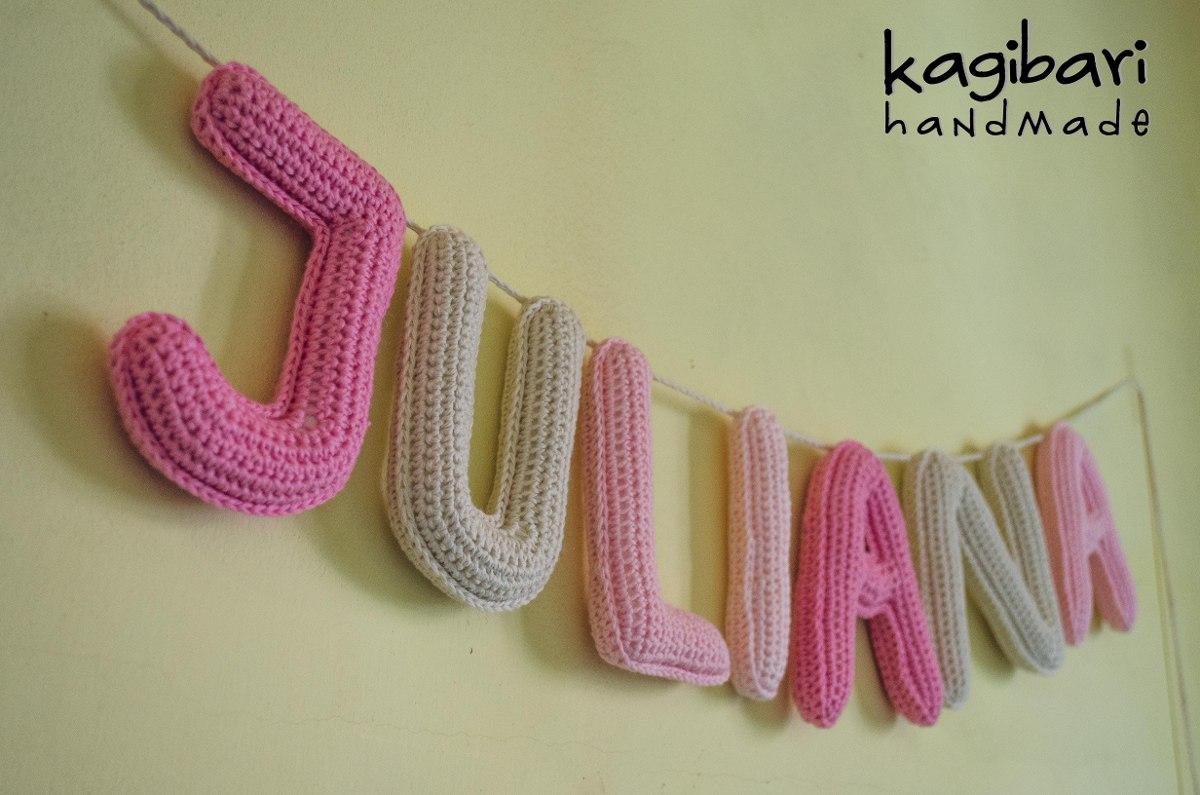 Cartel Con Nombre Tejida Al Crochet Guirnalda (7 Letras) - $ 1.047 ...