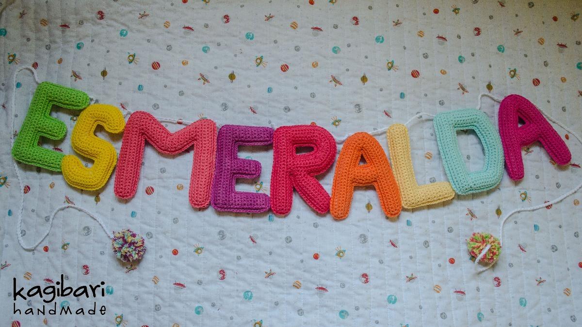 Cartel Con Nombre Tejida Al Crochet Guirnalda (9 Letras) - $ 1.346 ...