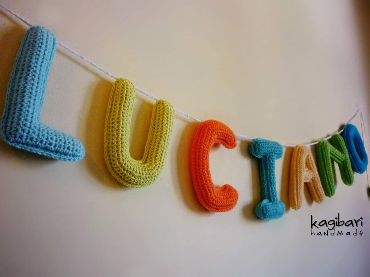 Cartel Con Nombre Tejida Al Crochet Guirnalda - $ 130,00 en Mercado ...