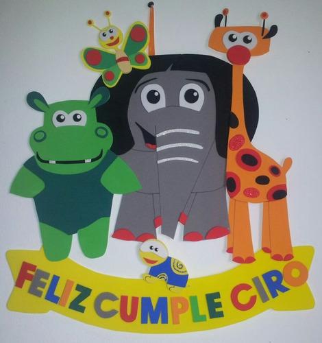 cartel cumpleaños - baby tv - goma eva 45 x 40 cm