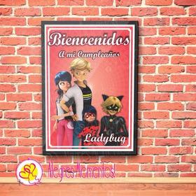 Cartel Cumpleaños Ladybug Chat Noir Impreso
