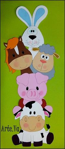 cartel de animales de la granja en goma eva