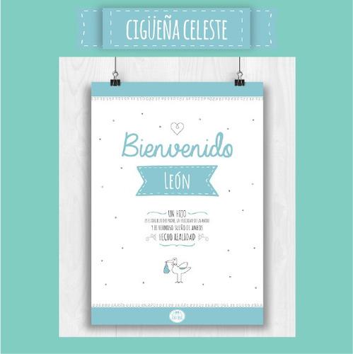 cartel de bienvenida ::: póster nacimiento para la puerta