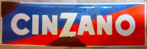 cartel de chapa cinzano bombe 30x100cm