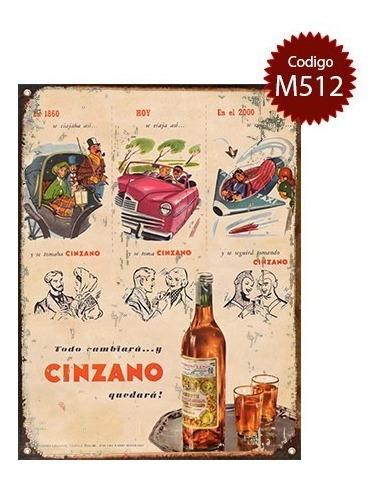 cartel de chapa publicidad antigua aperitivo cinzano varias