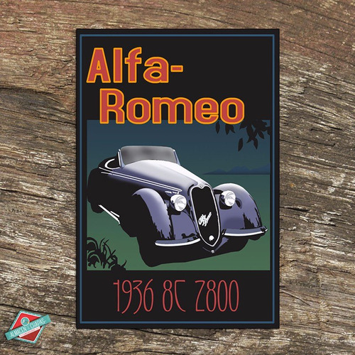 cartel de chapa retro vintage - alfa romeo 36