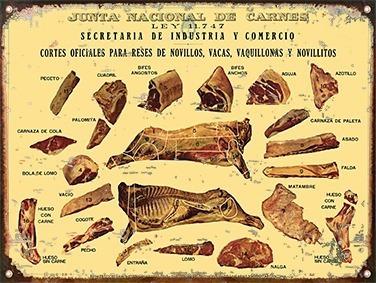 cartel de chapa vintage retro nuestras carnes vaca