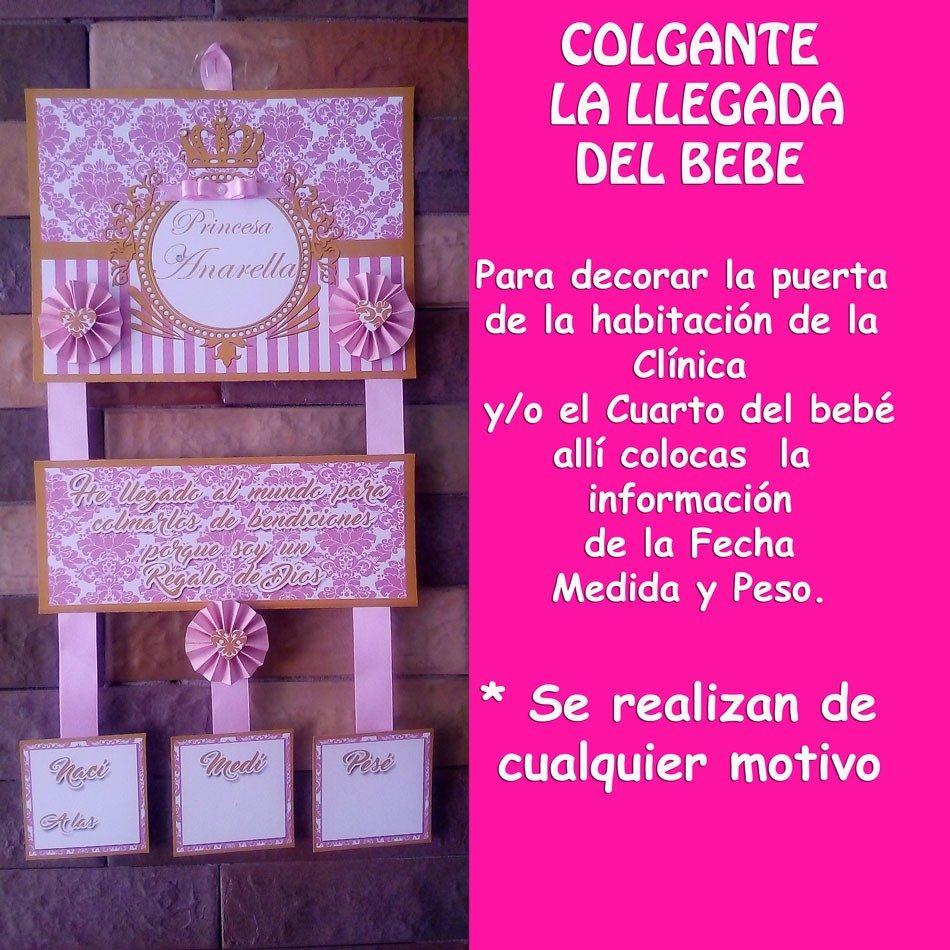 Cartel de nacimiento para puerta de la cl nica o hab bs for Cuando empezar a preparar la habitacion del bebe