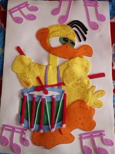 cartel de patito para cumpleaños en goma eva