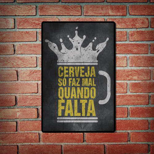 cartel decorativo chapa de madera -frase cerveza portugues
