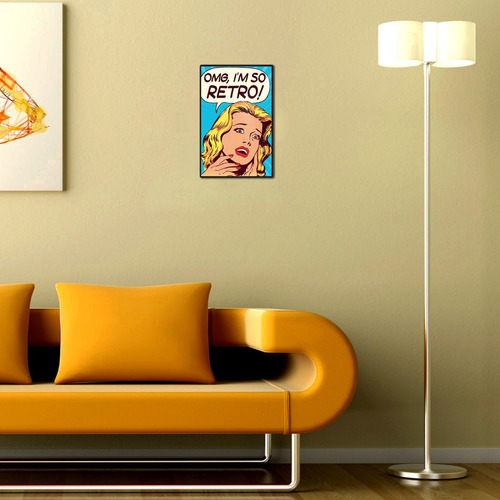 cartel decorativo chapa de madera - vintage omg im so retro