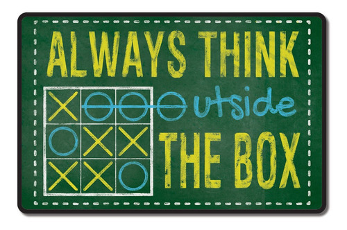 cartel decorativos chapa madera - outside the box - 29x19cm