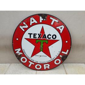 Cartel Enlozado Texaco Bifaz - 90 Cm - Made In Usa.