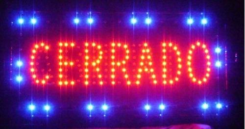 cartel led abierto/cerrado 220v ideal para negocios