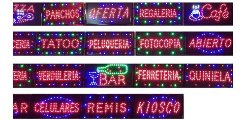 cartel led luminoso varios modelos sube kiosco celulares