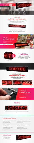 cartel led programable chico 70cm pasante carteles luminosos