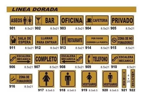 cartel linea dorada 4x20 cm varios modelos oferta!!!