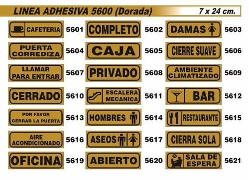 cartel linea dorada 8.5x21cm varios modelos oferta!!!