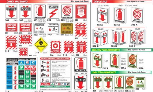 cartel linea evacuación fotoluminiscente 10x25 cm varios mod