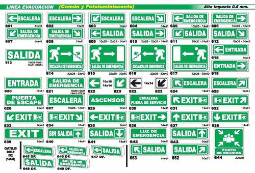 cartel linea evacuación fotoluminiscente 14x41 cm varios mod