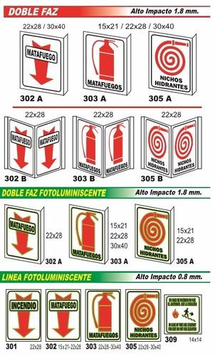 cartel linea incendio tipo carpa 22x28 cm varios modelos