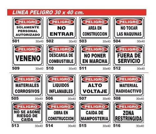 cartel linea peligro 22x28 cm varios modelos oferta!!!