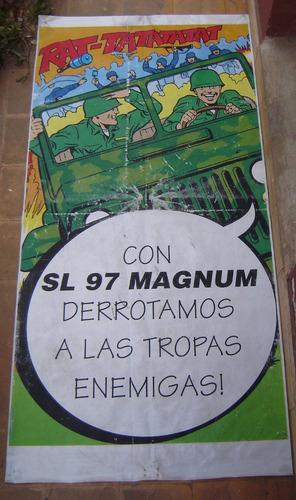 cartel lona afiche de nafta sl san lorenzo , jeep willys.