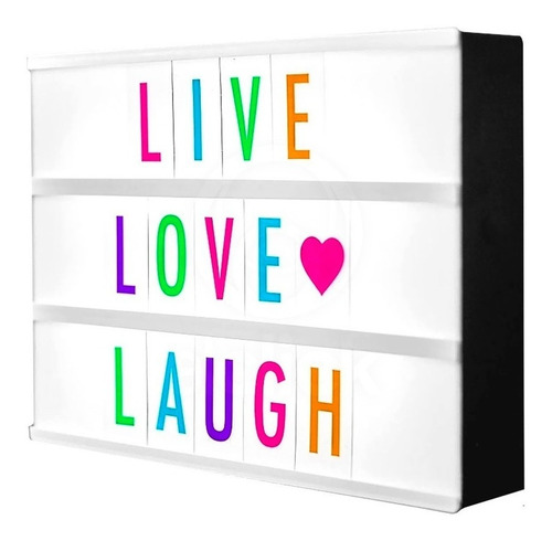 cartel luminoso led letras colores lightbox 20x15 usb