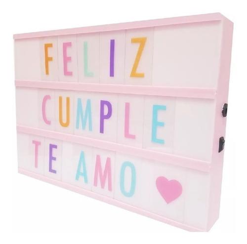 cartel luminoso led pizarra rosa light box cine letras mediana