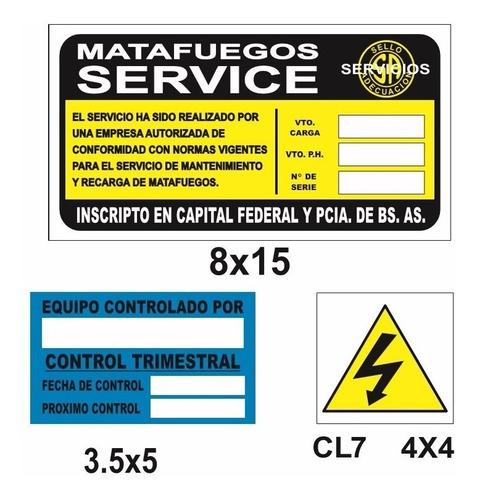 cartel matafuego control trimestral 100 unidades 5x3.5 cm
