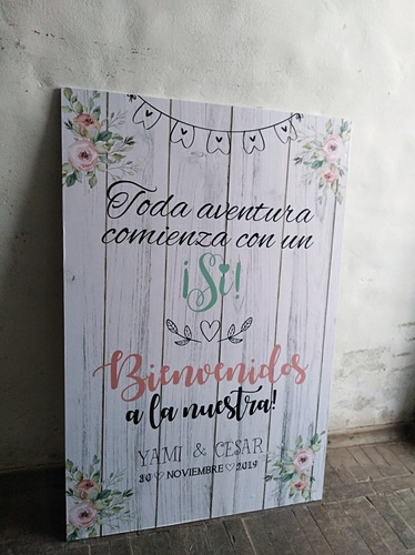 cartel mural bodas grande 90x60 cm para puerta