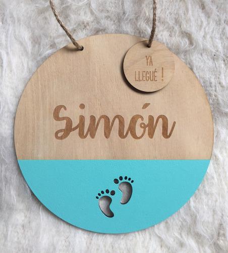 cartel nacimiento bienvenido , de madera nordico