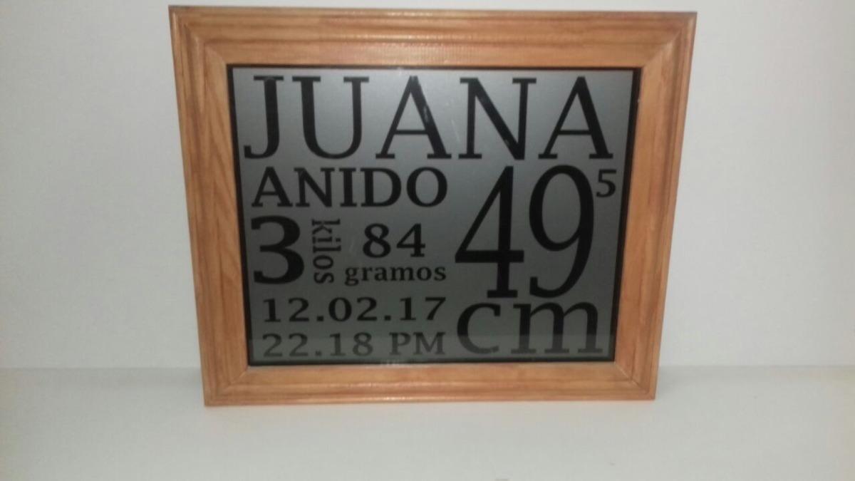 Cartel Nacimiento Personalizado De Vidrio Con Marco Madera - $ 1.500 ...