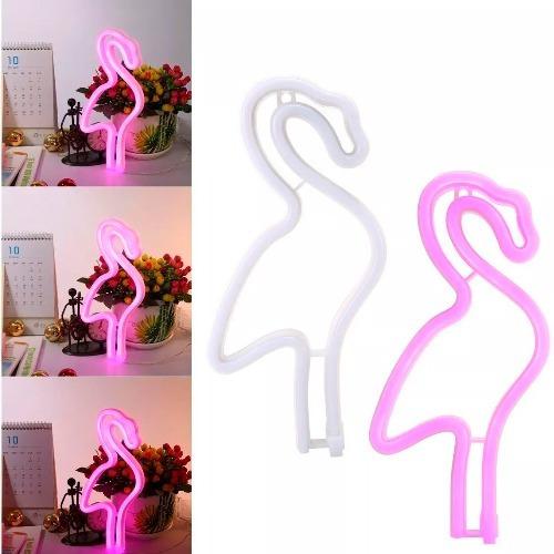 cartel neon flamenco rosa velador led usb pila