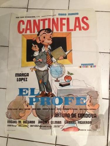 cartel o afiche de cine antiguo cantinflas el profe