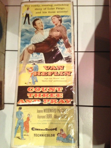 cartel o afiche de cine antiguo count three and pray 1955