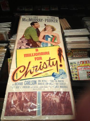 cartel o afiche de cine antiguo millionaire for christy 1951