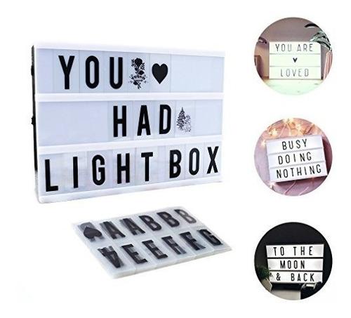 cartel pizarra luminosa led light box 30x22 cine usb pila