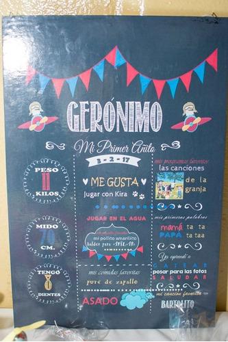 cartel pizarras cumpleaños con datos niños  personalizadas