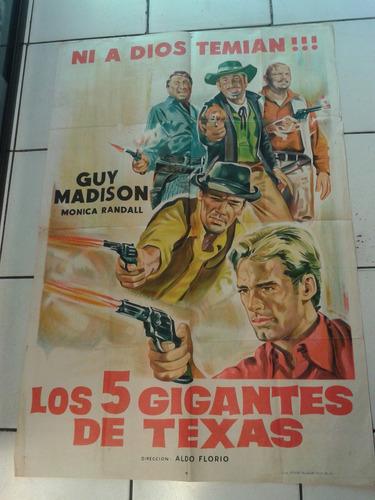 cartel póster cine original los 5 gigantes de texas