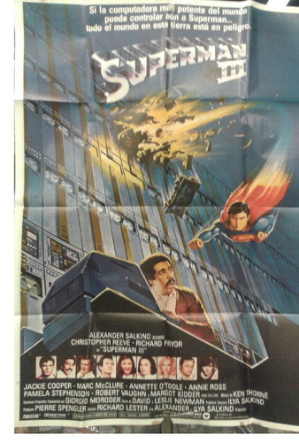 cartel póster cine original  superman 3