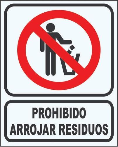 cartel prohibido arrojar residuos 22x28 alto impacto